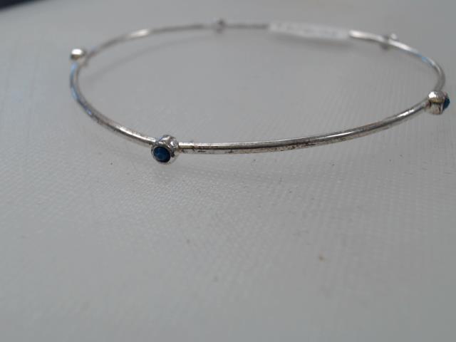 Bracelet argent mince ornament blue