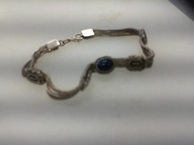 Bracelet argent pierre bleu maille mince