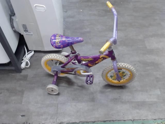Velo pour enfant rapunzel mauve jaune